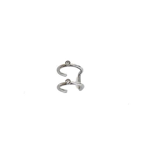 Silver Double Hoop Ear Cuff
