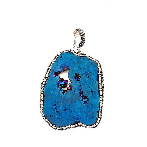 Interchangeable Metallic Blue Druzy Pendant