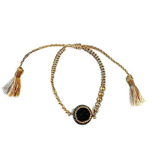 Druzy Gold Tassel Bracelet