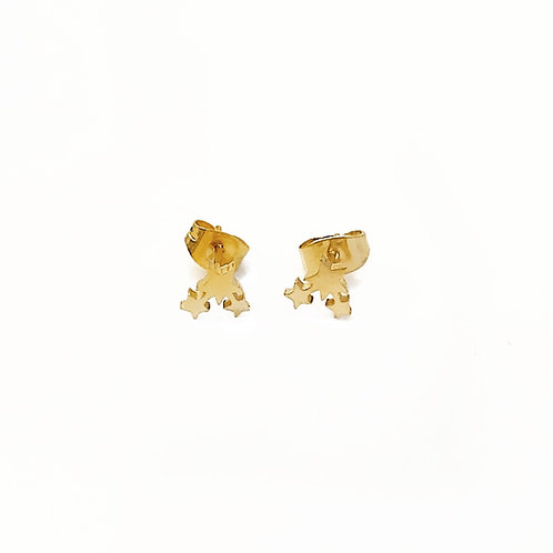 Brushed Gold Star Studs