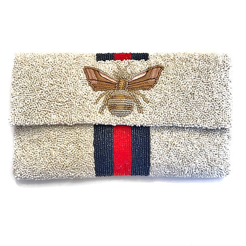 LOWEST PRICE ANYWHERE! ONLY ONE LEFT! White Gucci Inspired Bee Clutch