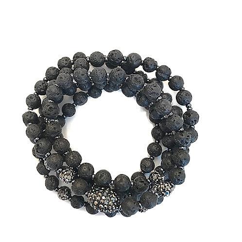 Black Lava Bead Wrap