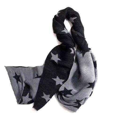 Cashmere Blend Black & Grey Star Scarf