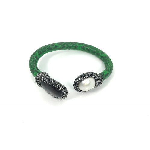 Adjustable Thin Green Python Cuff