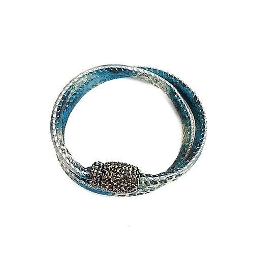 Blue Double Wrap Bracelet/Choker