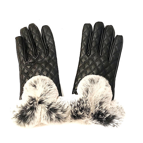 Quilted Gloves with Fur Trim
