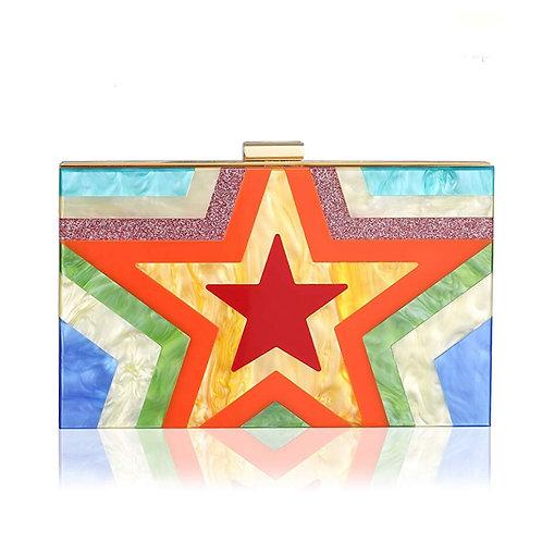 Rainbow Acrylic Star Clutch