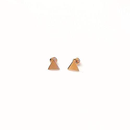 Brushed Rose Gold Triangle Stud Earrings