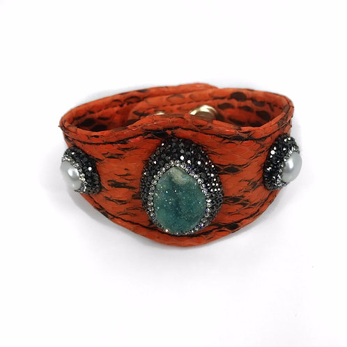 Encrusted Gemstone Orange Leather Cuff