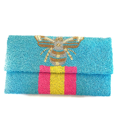 Blue Gucci Inspired Bee Clutch