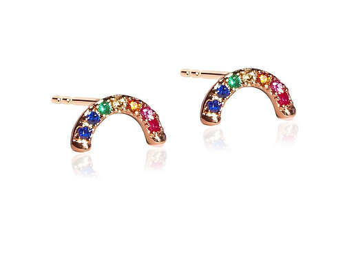 Rose Gold Rainbow Studs