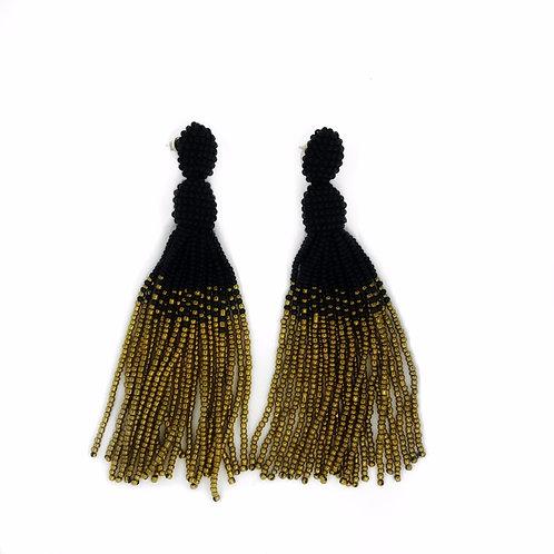 Long black & gold beaded tassel earrings