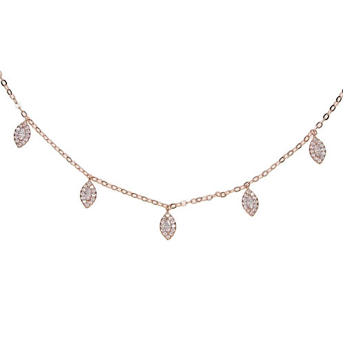 Rose Gold Marquis Drop Necklace