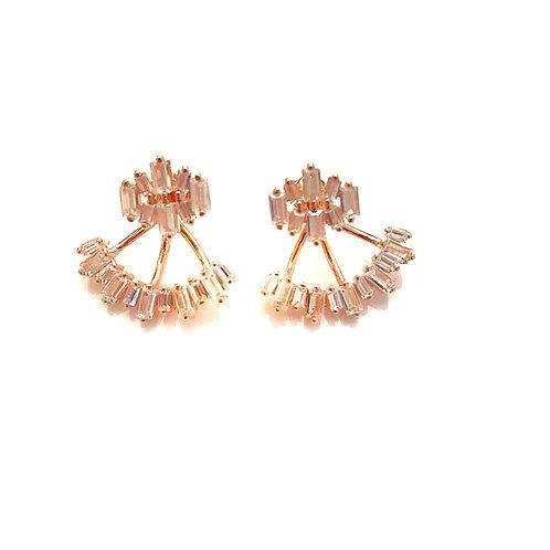 Rose Gold Baguette Earrings