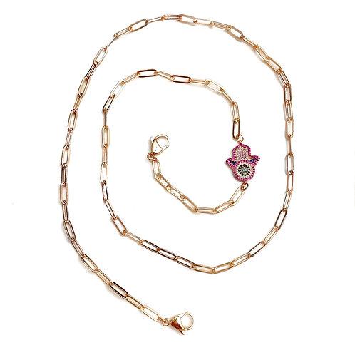 Rose Gold Hamsa Mask Necklace