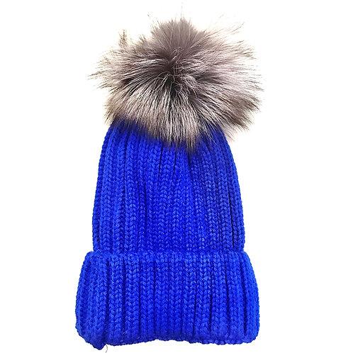 Metallic Blue Pom Pom Hat
