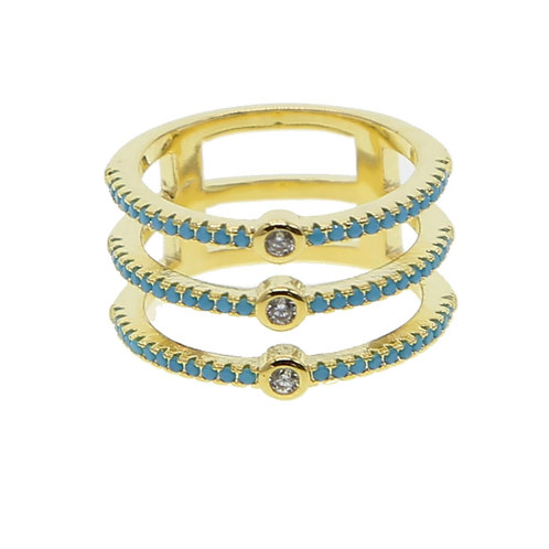 Teal & Gold Triple Ring