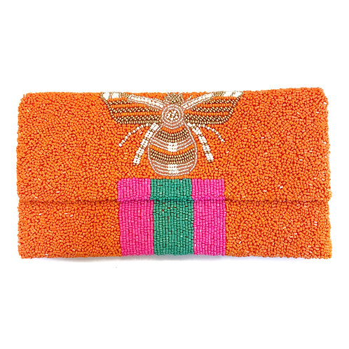 Orange Gucci Inspired Bee Clutch