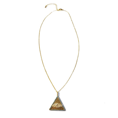 Gold Evil Eye Triangle Necklace