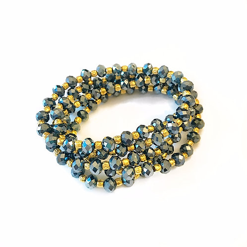 Mirrored Navy Crystal Wrap