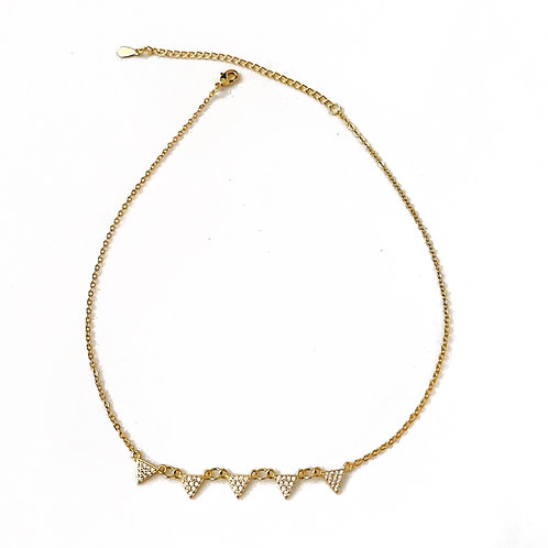 Gold Pave Triangle Necklace