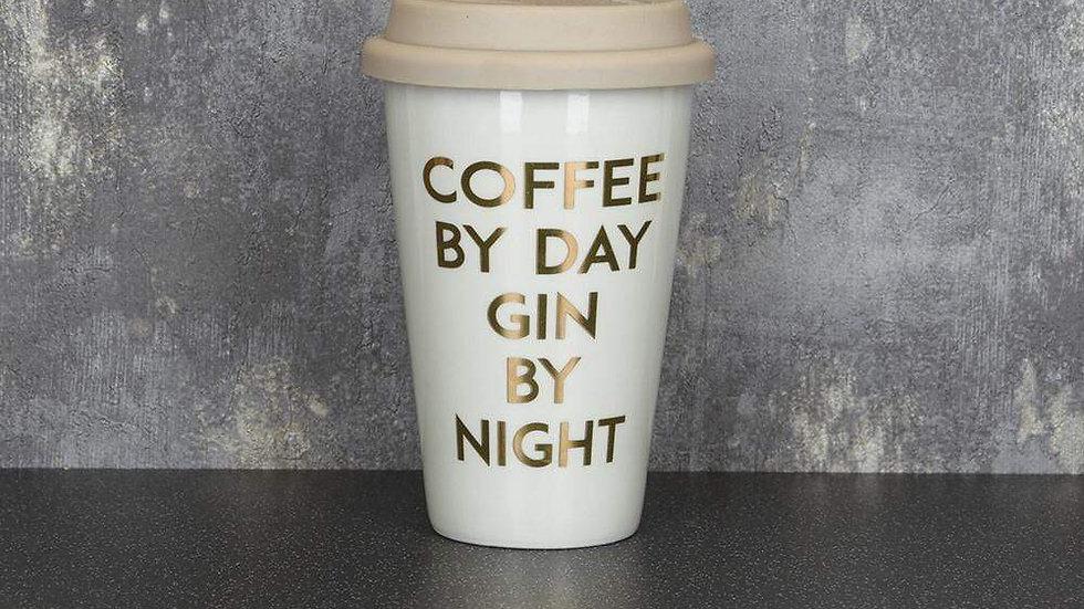 Travel Mug Coffee By Day Gin By Night Light Grey