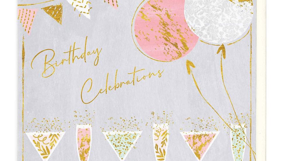Glasses of Fizz Birthday Celebrations Card