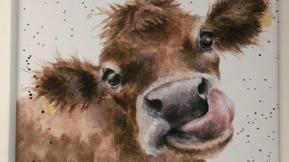 Wrendale cow canvas 20 x 20cm