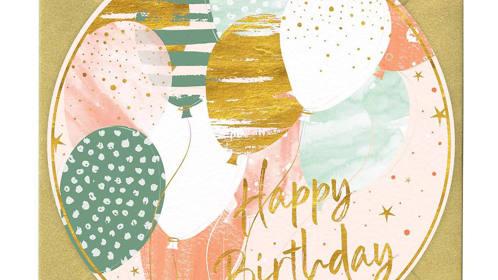 Beautiful Balloons Round Birthday Card