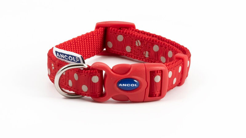 Ancol Vintage Red Polka Dot Nylon Dog Collar 20 - 30cm