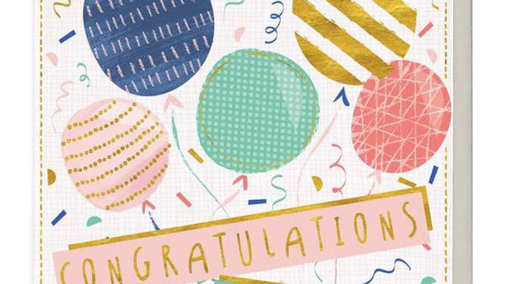 Patterned Balloons Congratulations Card