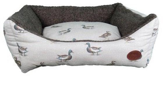 Snug & Cosy Duck Print Rectangular Dog Bed 76cm