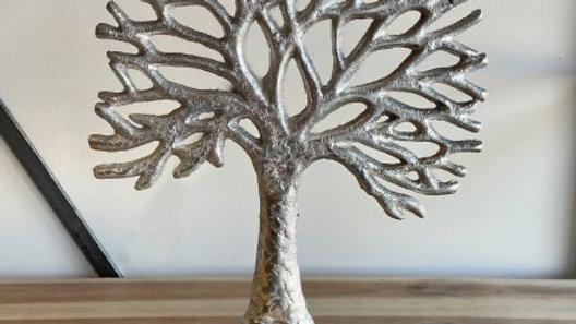 Metal Tree on Wood Base