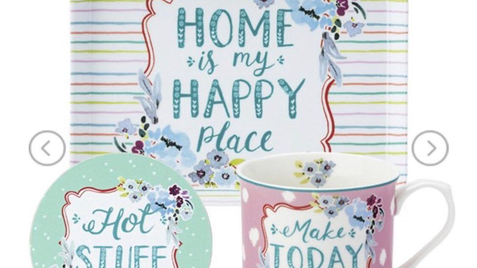 Ashley Thomas Mug, Coaster & Tray Set - Happy Place