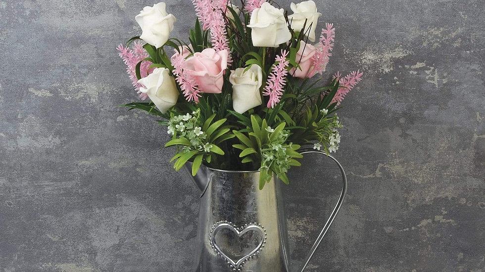 Metal Jug with Pink Roses and Lavender 41cm
