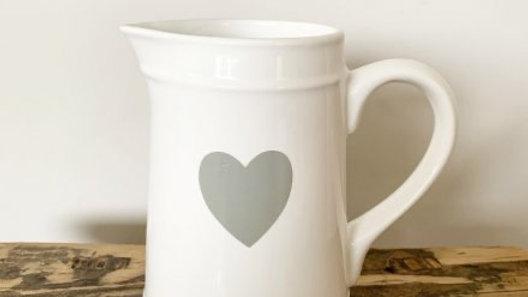 White Ceramic Jug W/Heart