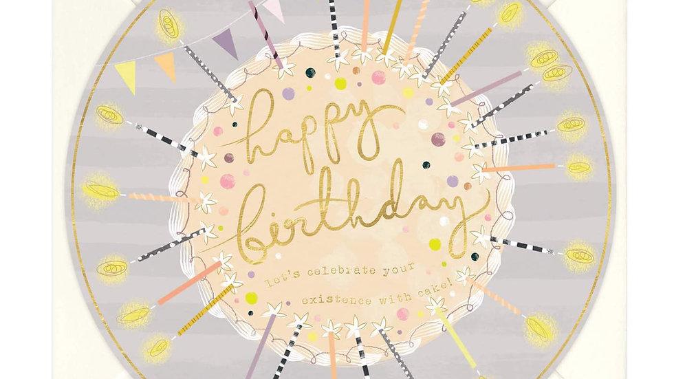 Circular Candles Round Birthday Card