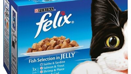 Felix Pouch Fish Selection Chunks in Jelly 4 x 12 x 100g