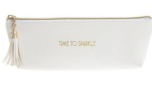 White Time To Sparkle Makeup Bag
