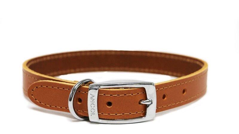 Ancol Tan Sewn Leather Dog Collar 40cm