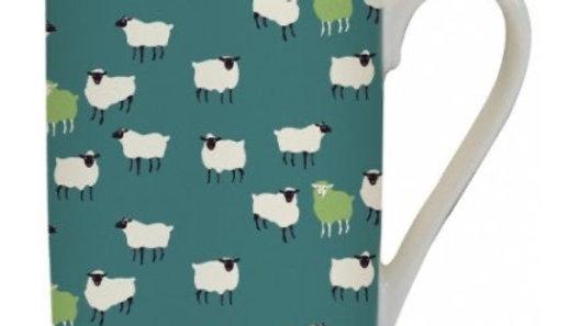 Printed Green Sheep Fine China Mug