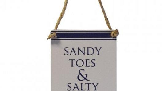 Mini Metal Sign - Sandy Toes & Salty Kisses