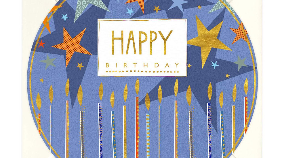 Candles and Stars Round Birthday Card