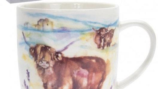 The Country Life Watercolour Highland Cow Mug