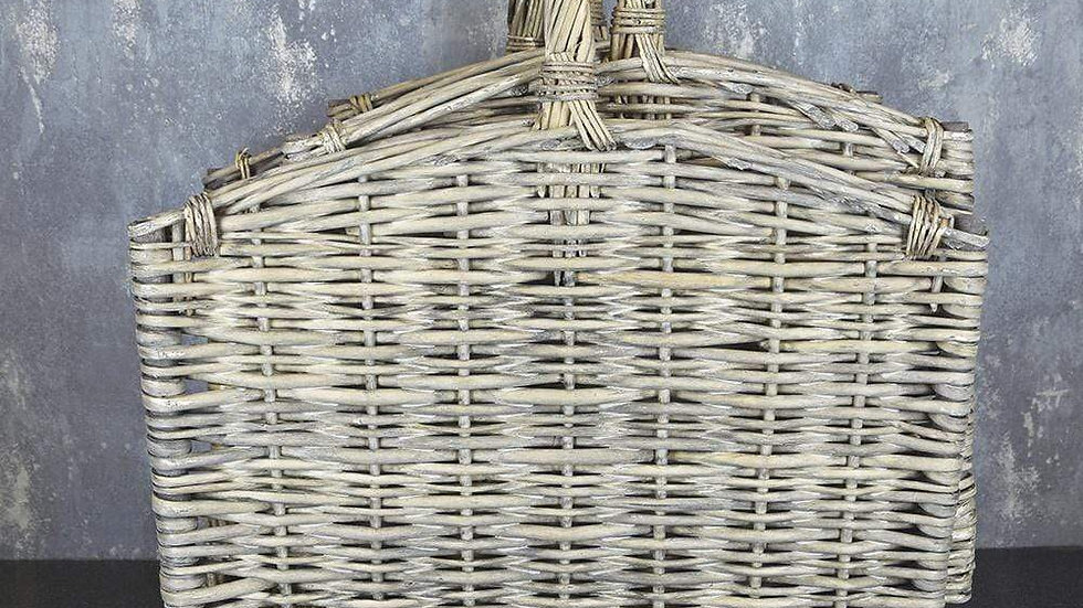 Willow Log Basket with Handles Grey Wash