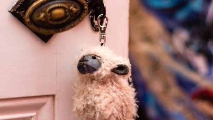 Plaid Mackenzie Sheep Key Ring