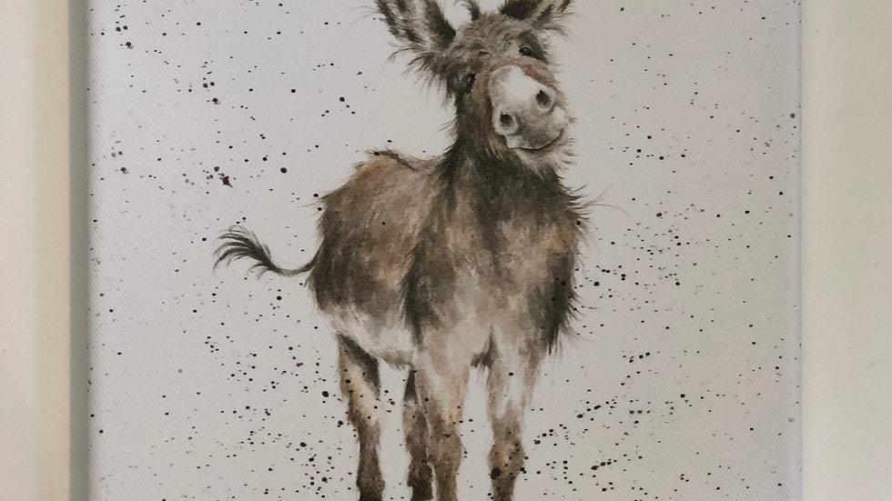 Wrendale donkey canvas 20 x 20cm