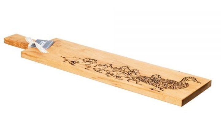 Long Duck and Ducklings Oak Serving Paddle