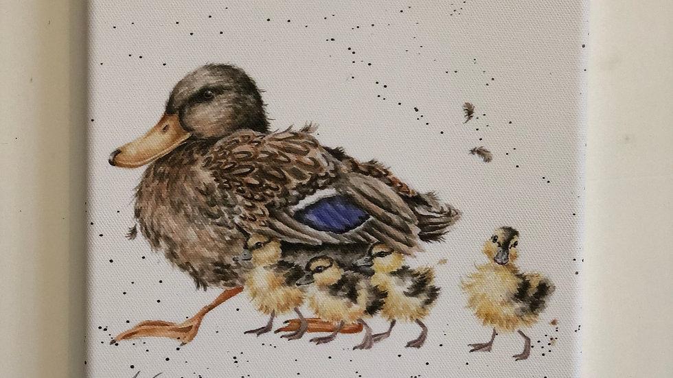 Wrendale duck & Ducklings canvas 20 x 20cm