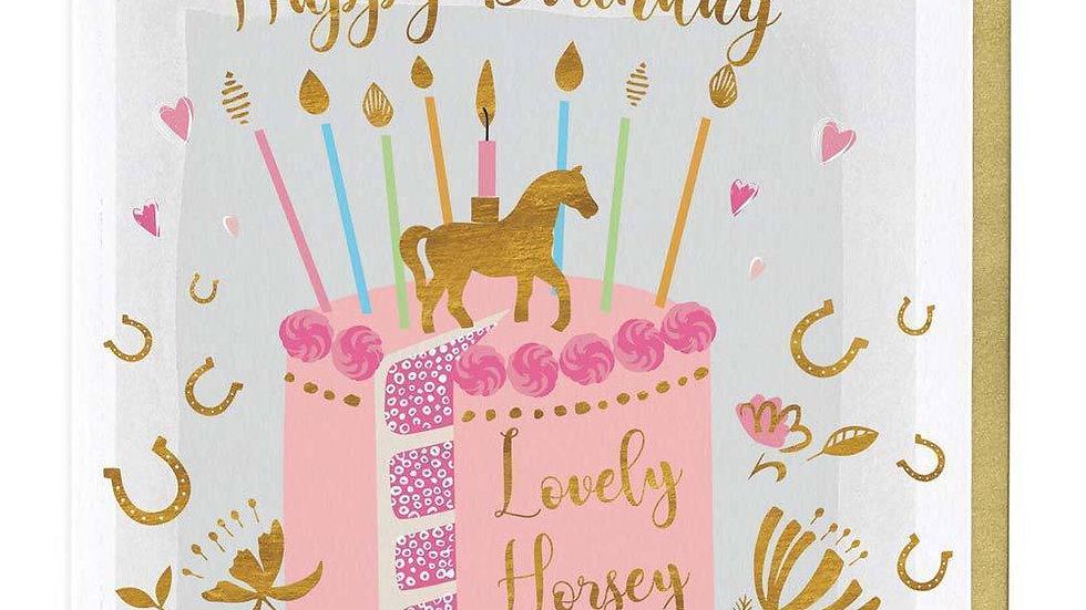 Lovely Horsey Lady Birthday Cake Card